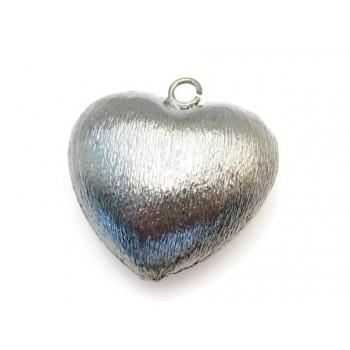 Hjerte børstet sort 26 mm