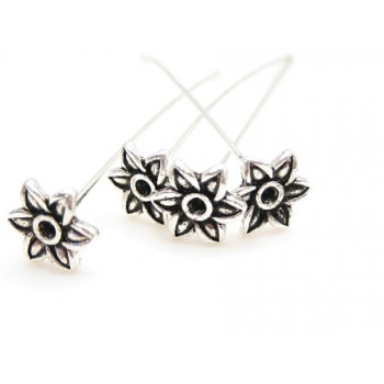 Perlestav sølv med blomst 6 cm - 4 stk