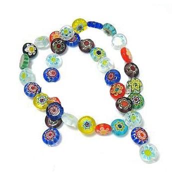 Millefiori glas perler 10 mm  - 12 stk