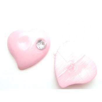 Hjerte med sten rosa 11 mm - 2 stk