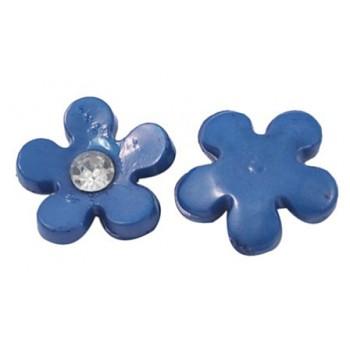 Blomst med klar sten blå 11 mm - 2 stk