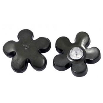 Blomst med klar sten sort 11 mm - 2 stk