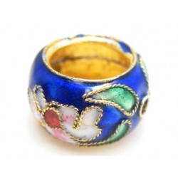 Cloisonne ring 15mm blå