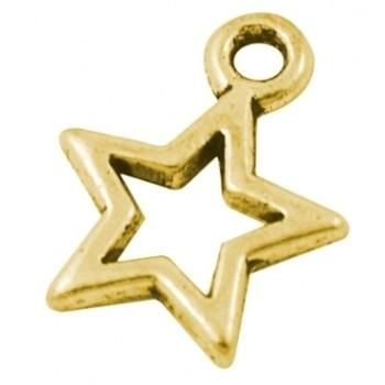 Stjerne antik guld 14 mm - 4 stk