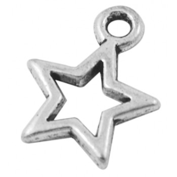 Stjerne antik sølv 14 mm - 4 stk