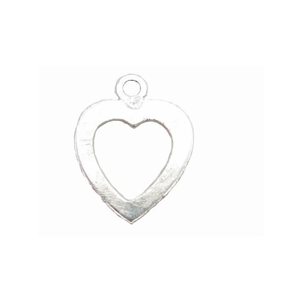 Børstet sølv hjerte 18 mm