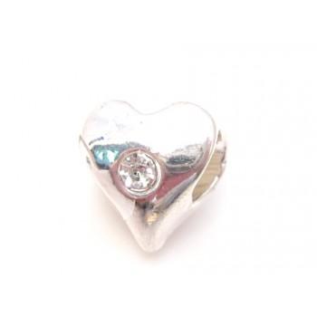 Sølvbelagt hjerte med sten