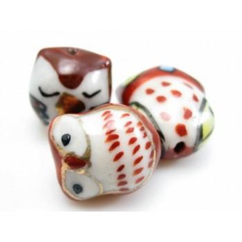 Porcelæns ugle brun 15 - 20 mm.