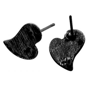 Sort hjerte øreringe 13 mm - 1 par