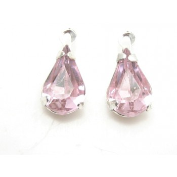 Vedhæng med stene rosa 13 mm - 1 par