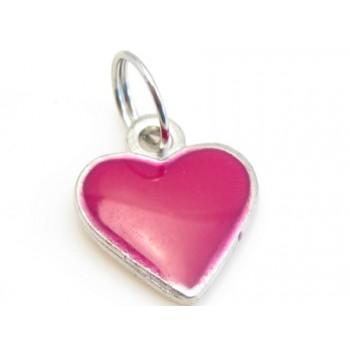 Hjerte med emalje i  mørk pink