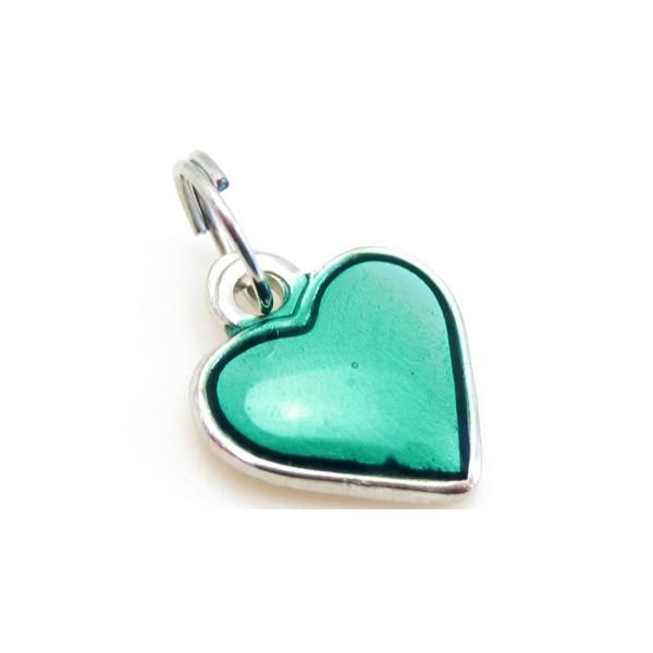 Hjerte vedhæng med grøn emalje