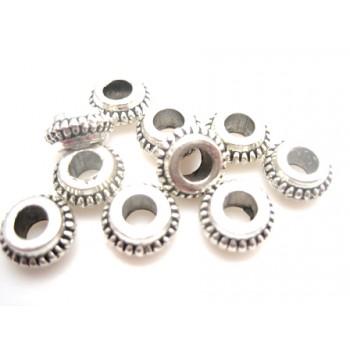 Mellem rondel tibet sølv 7,5/3 mm - 10 STK