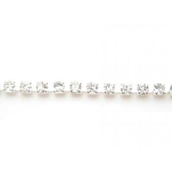 Rhinstens kæde sølv 2,2 mm stene - 20 cm