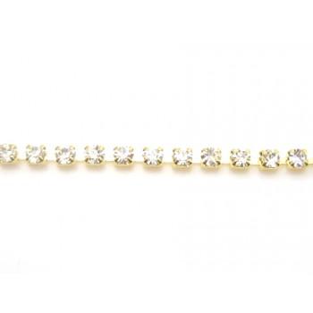 Rhinstens kæde guld 2,2, mm stene - 20 cm