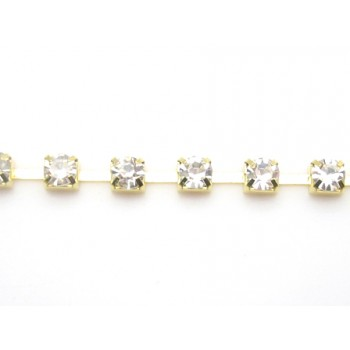 Rhinstens kæde guld 4,1 mm stene - 20 cm