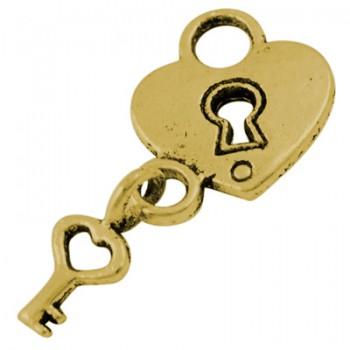 Hængelås med nøgle guld - 2 stk