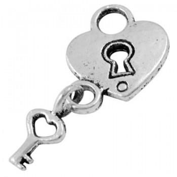 Hængelås med nøgle sølv - 2 stk