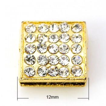 Rhinstens firkant guld 12 / 2 mm
