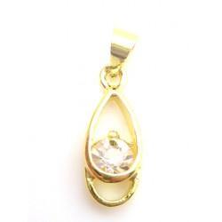 Vedhæng med zirkon 22 mm guld - BILLIGT