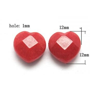 Anboret facetteret jade hjerte 12/1 mm - 2 stk