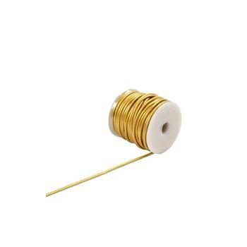 Læder snøre 1 mm metalic guld - 1 m