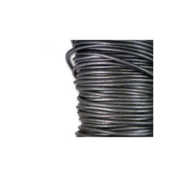 Læder snøre 1 mm metallic mørk grå - 1 m