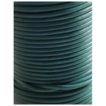 Læder snøre 1 mm grøn / blå - 1 m