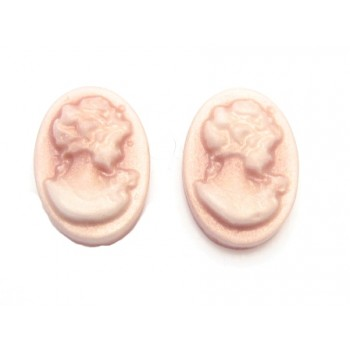 Cameo støvet rosa 10 x 13 mm - 2 stk
