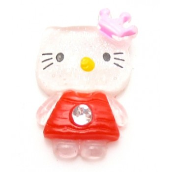 Hello Kitty rød med sten, flad bagside