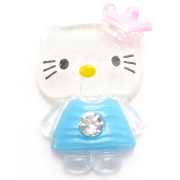 Hello Kitty turkis med sten, flad bagside