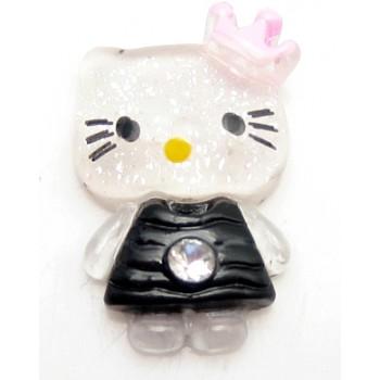 Hello Kitty sort med sten, flad bagside