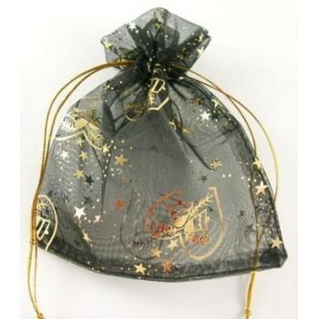 Smykkepose julemotiv sort 10 x 11,5 - 2 stk