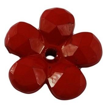 Blomst facetteret 22 mm Rød - 2 stk