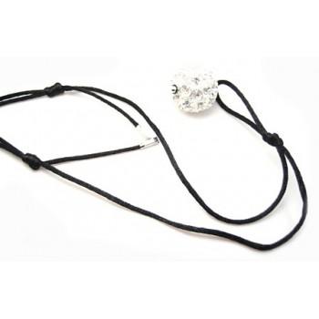 Lang silke halskæde med stor kugle og glide knude