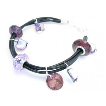 Armbånd med glas led / charms og shell