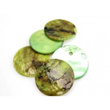 Rå grøn skaller 14mm - 6 stk