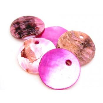 Rå pink skaller 14 mm - 6 stk