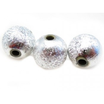 Silkebørstet sølv perle 8mm - 4 stk
