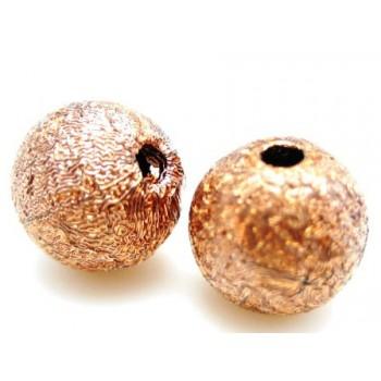 Silkebørstet kobber perle 8 mm -4 stk