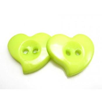 Hjerte Knap 23 mm  - 8 stk Lime