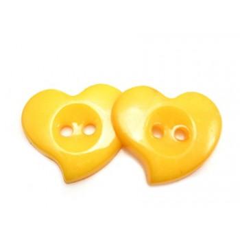 Hjerte Knap 23 mm  - 8 stk Orange