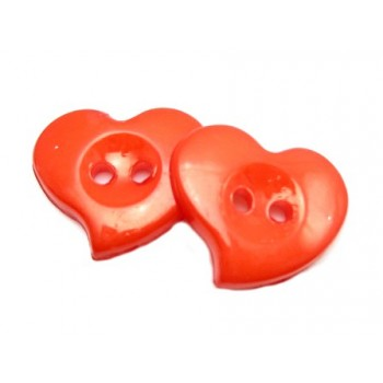 Hjerte Knap 23 mm  - 8 stk Rød