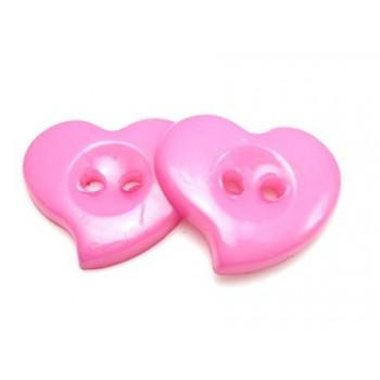 Hjerte Knap 23 mm  - 8 stk Pink