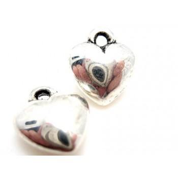 Hjerter i sølv plate 10 mm - 2 stk