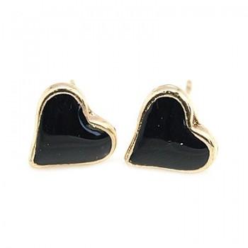 Smukke emalje øreringe sorte - 1 par