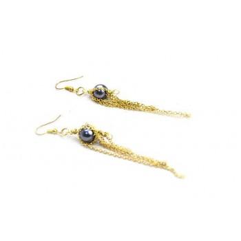 Ørering med kæde, guld sølv eller sort  - lav selv