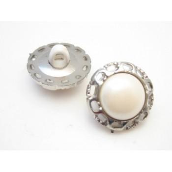 Sølv perlemors knap 16 mm - 2 stk