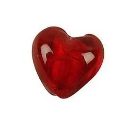 Mega glas hjerte rød 28 mm