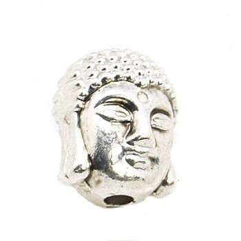 Buddha  11 x 9 mm 2 mm hul sølv - 2 stk